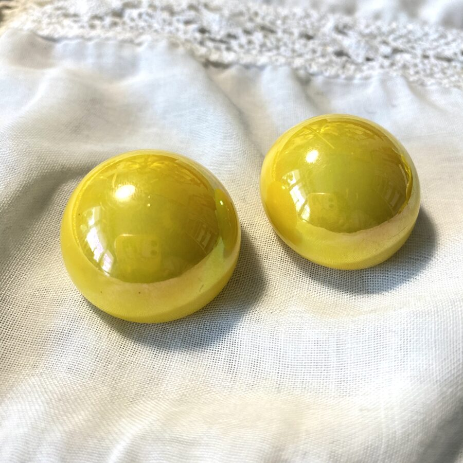 """Vintage! Große Ohrclips """"Mellow Yellow"""" (B)"""